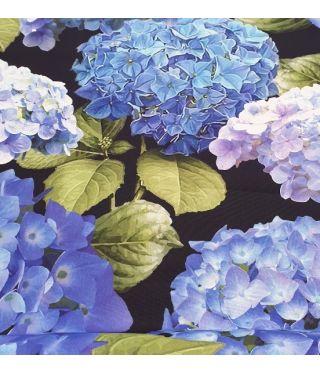 Botanica Black Hydrangea - Fabric by the metre