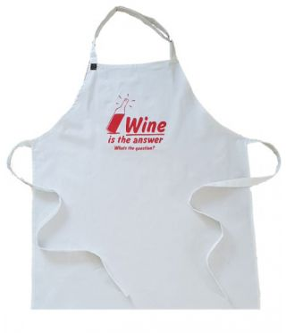 100% Cotton Slogan Apron- Wine Is The Answer