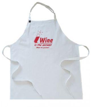 100% Cotton Slogan Apron- Wine Is The Answer