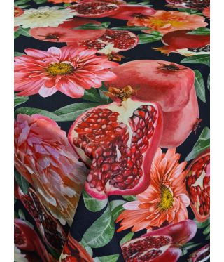 Botanica Pomegranate Black - Fabric By The Meter
