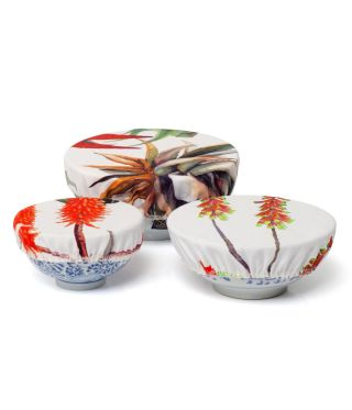 Bowl Coverings - Aloe - White - SET OF 3
