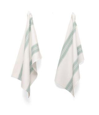 Tea Towels - Artisan Stripe - Vintage Duckegg