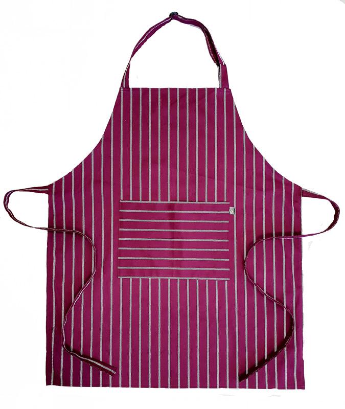 Butchers stripe -Burgundy